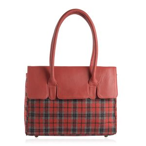 Red Genuine Leather RFID Tote Bag (14x10x4 in)