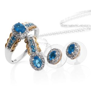 Malgache Neon Apatite, White Topaz 14K YG and Platinum Over Sterling Silver Earrings, Ring (Size 9) and Pendant With Chain (20 in) TGW 2.68 cts.