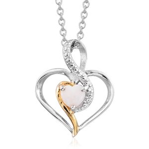 KARIS Collection - Australian White Opal ION Plated 18K YG and Platinum Bond Brass Heart Pendant With Stainless Steel Chain (20 in) TGW 0.30 cts.