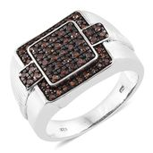 Red Diamond (IR) Black Rhodium and Platinum Over Sterling Silver Men's Ring (Size 12.0) TDiaWt 0.75 cts, TGW 0.75 cts.