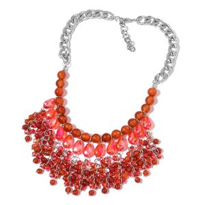 Red Agate Enhanced, Red Glass Silvertone Necklace (20 in) TGW 400.00 cts.