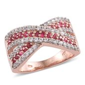 Mahenge Pink Spinel, Cambodian Zircon 14K RG Over Sterling Silver Ring (Size 9.0) TGW 1.84 cts.
