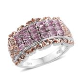 Mahenge Pink Spinel, Cambodian Zircon 14K YG and Platinum Over Sterling Silver Ring (Size 6.0) TGW 1.50 cts.