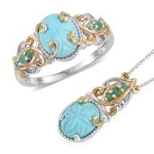 Arizona Sleeping Beauty Turquoise, Kagem Zambian Emerald 14K YG and Platinum Over Sterling Silver Ring (Size 6) and Pendant With Chain (20 in) TGW 3.99 cts.
