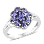 Premium AAA Tanzanite Platinum Over Sterling Silver Ring (Size 7.0) TGW 2.10 cts.
