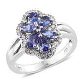 Premium AAA Tanzanite, Cambodian Zircon Platinum Over Sterling Silver Ring (Size 6.0) TGW 1.74 cts.