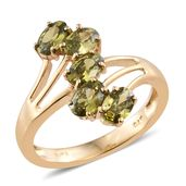 KARIS Collection - Simulated Peridot Diamond ION Plated 18K YG Brass Ring (Size 6.0) TGW 3.40 cts.