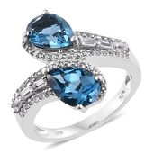 Karen's Fabulous Finds London Blue Topaz, White Topaz Platinum Over Sterling Silver Bypass Ring (Size 6.0) TGW 5.08 cts.