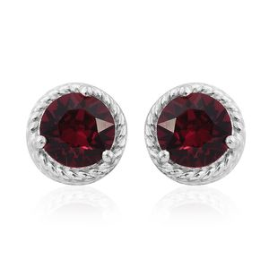 Sterling Silver Stud Earrings Made with SWAROVSKI Red Crystal