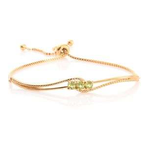 KARIS Collection - Hebei Peridot ION Plated 18K YG Brass Magic Ball Bar Bracelet (Adjustable) TGW 1.10 cts.