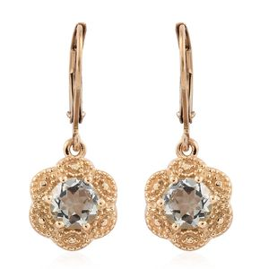 KARIS Collection - Green Amethyst ION Plated 18K YG Brass Floral Lever Back Earrings TGW 1.50 cts.