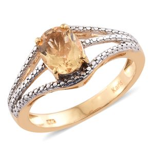 KARIS Collection - Brazilian Citrine ION Plated 18K YG Brass Ring (Size 8.0) TGW 1.65 cts.