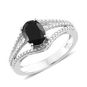 KARIS Collection - Thai Black Spinel Platinum Bond Brass Ring (Size 8.0) TGW 2.25 cts.