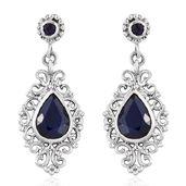 Artisan Crafted Kanchanaburi Blue Sapphire, Catalina Iolite Sterling Silver Openwork Drop Earrings TGW 6.78 cts.