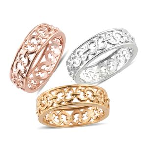 KARIS Collection - ION Plated 18K YRG and Platinum Bond Brass Set of 3 Ring (Size 5)