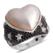 Mabe Pearl - White, Multi Gemstone Black Rhodium Sterling Silver Ring (Size 7) TGW 9.630 Cts. TGW 9.63 Cts.