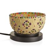 TLV Handcrafted Cream Floral Design Mosaic Electric Lamp with Himalayan Salt (6.5 in)