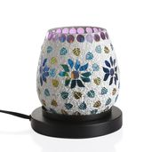 TLV Handcrafted White Floral and Leaf Design Mosaic Electric Lamp with Himalayan Salt (5.5 in)