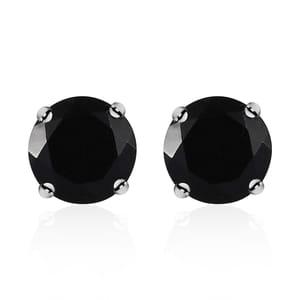 Australian Black Tourmaline Platinum Over Sterling Silver Earrings TGW 4.00 cts.