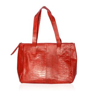 Mother's Day Special Red 100% Genuine Leather Croco Embossed RFID Shoulder Bag (13.5x6.25x11 in)