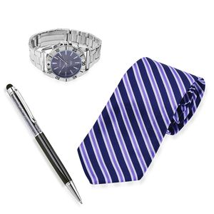 STRADA Japanese Movement Watch, Multi-Color Striped Pattern Tie and Black Acrylic Crystal Pen