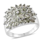 Green Sapphire Sterling Silver Cluster Ring (Size 7.0) TGW 3.68 cts.