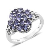 Tanzanite Platinum Over Sterling Silver Ring (Size 5.0) TGW 1.70 cts.