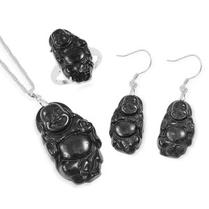 Burmese Black Jade Sterling Silver Earrings, Ring (Size 6) and Pendant With Chain (20 in) TGW 50.65 cts.