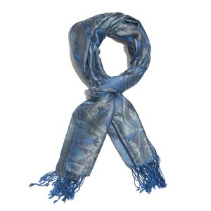Blue, Multi 100% Silk Jacquard Scarf with Handmade Fringes (72x28 in)