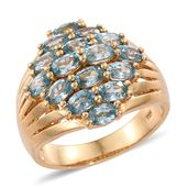 Cambodian Blue Zircon 14K YG Over Sterling Silver Cluster Ring (Size 6.0) TGW 5.90 cts.