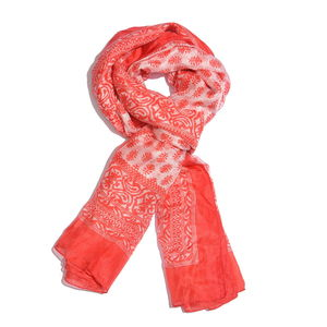White and Red 100% Natural Mulberry Silk Paisley and Leaves Printed Scarf (78x40 in)