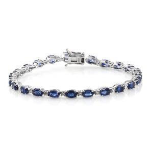 Himalayan Kyanite, Cambodian Zircon Platinum Over Sterling Silver Night's Shine Tennis Bracelet (8.00 In) TGW 16.32 cts.