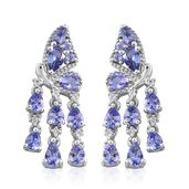Premium AAA Tanzanite, Cambodian Zircon Platinum Over Sterling Silver Butterfly Drop Earrings TGW 3.38 cts.