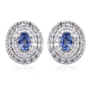 Ceylon Blue Sapphire, Cambodian Zircon Platinum Over Sterling Silver Earrings TGW 2.80 cts.