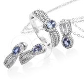 Ceylon Blue Sapphire, Cambodian Zircon Platinum Over Sterling Silver Earrings, Ring (Size 6) and Pendant With Chain (20 in) TGW 2.49 cts.