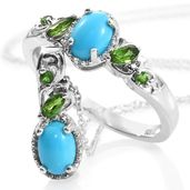 Ankur's Treasure Chest Arizona Sleeping Beauty Turquoise, Russian Diopside Platinum Over Sterling Silver Ring (Size 5) and Pendant With Chain (20 in) TGW 2.08 cts.