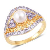 Japanese Akoya Pearl (6.5-7 mm), Tanzanite 14K YG Over Sterling Silver Ring (Size 10.0) TGW 1.15 cts.