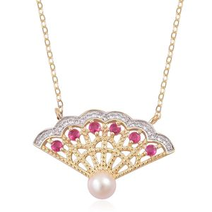 Japanese Akoya Pearl (5-6 mm), Niassa Ruby, White Zircon 14K YG Over Sterling Silver Necklace (18 in) TGW 0.51 cts.