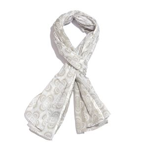 Dark Gray and White Printed 100% Cotton Scarf (40x72 in)