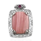 Artisan Crafted Peruvian Pink Opal, Orissa Rhodolite Garnet Sterling Silver Pendant without Chain TGW 27.56 cts.
