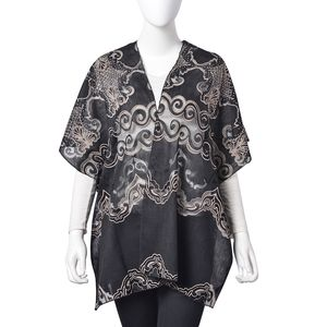Black ang Ice Coffee Wave Pattern 100% Polyester Kimono (27.56x35.44 in)