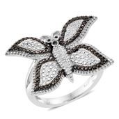 KARIS Collection - Champagne Diamond Black Rhodium & Platinum Bond Brass Accent Butterfly Ring (Size 9.0)