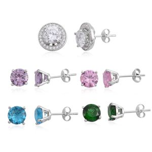 Simulated Multi Color Diamond Silvertone Set of 6 Stud Earrings TGW 22.36 cts.