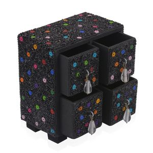 Black 4 Drawer Bling Chest Jewelry Box (5x3x5.5 in)