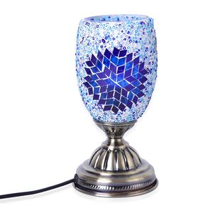 TLV Turkish Inspired Handcrafted Blue Eternity Moroccan Mosaic Table Lamp with Bronze Base (9x4.5 in) (Requires  E-12 Bulb Adapter Included)