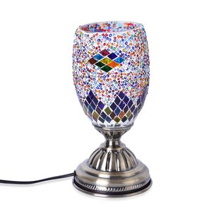 TLV Turkish Inspired Handcrafted Multi Color Geometric Moroccan Mosaic Table Lamp with Bronze Base (9x4.5 in) (Requires  E-12 Bulb Adapter Included)
