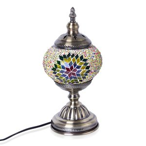 Turkish Inspired Handcrafted Multi Color Eternity Moroccan Mosaic Table Lamp with Bronze Base (12x5 in) (Requires  E-12 Bulb Adapter Included)