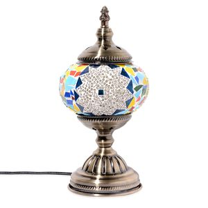 Turkish Inspired Handcrafted Shiny Star Moroccan Mosaic Table Lamp with Bronze Base (12x5 in) (Requires  E-12 Bulb Adapter Included)