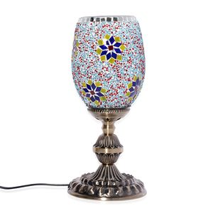 Turkish Inspired Handcrafted Mosaic Electric Lamp with Bronze Base (13.5x5 in) (Requires E 14 Bulb)