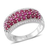 Web Exclusive Doorbuster Burmese Ruby, Cambodian White Zircon Sterling Silver Cluster Ring (Size 5.0) TGW 2.96 cts.
